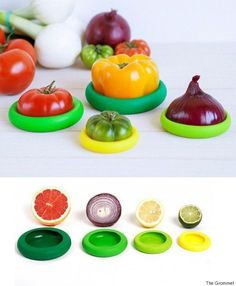 Food Huggers create a tight seal by wrapping around your leftover fruits and veggies. Fit your half-cut fruit or veggie into the closest size to save for later. Food Huggers also work over jars and small containers to keep contents fresh. Cool Kitchen Gadgets, Home Gadgets, Gadgets And Gizmos, Kitchen Items, Kitchen Hacks, Diy Kitchen, Cool Kitchens, Kitchen Things, Kitchen Tools