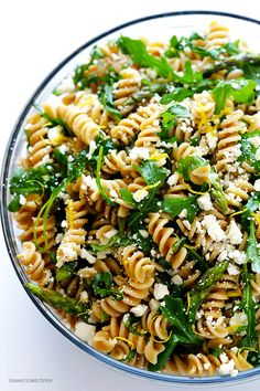 Asparagus and Arugula Pasta Salad -- quick and easy to make, and a total crowd-pleaser! | gimmesomeoven.com