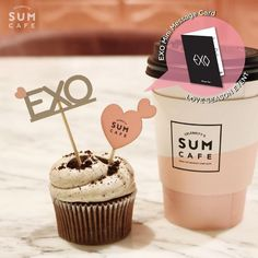 SM TOWN COEX Artium SUM Cafe EXO Artist Cup Cake Pick + EXO Mini Message Card