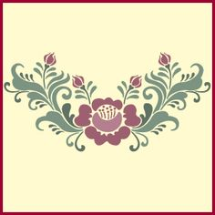 Folk Embroidery Tutorial Rosemaling Rose - 2 Stencil- Swedish Kurbits - The Artful Stencil Folk Embroidery, Embroidery Patterns, Beginner Embroidery, Stencil Patterns, Henna Patterns, Doll Patterns, Rosemaling Pattern, Bird Stencil, Damask Stencil
