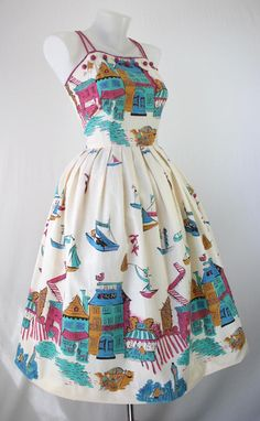 Fantastic 1950s Boston seaside novelty print summer dress. #vintage #fashion #dresses #1950s