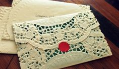 How to make lace doily envelopes with round doilies. Could be great as an envelope liner! Doily Invitations, Wedding Invitation Envelopes, Invitation Paper, Crafts To Make, Fun Crafts, Paper Crafts, Diy Paper, Holiday Crafts, My Funny Valentine