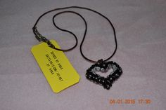 Heart Necklace with  black swarovski crystals