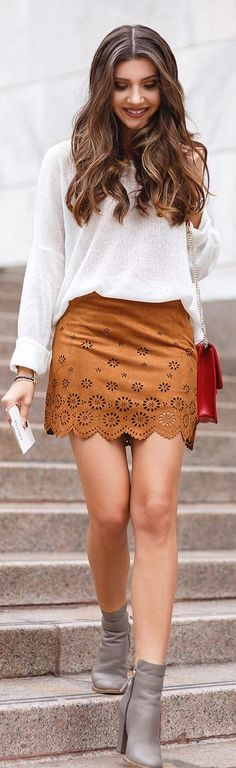 The Mysterious Girl Camel Suede Laser Cut Mini Skirt Street Fall Inspo