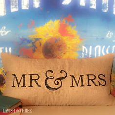 A beautiful reminder whether it's been one year, fifty or more . . . the Mr. & Mrs. burlap pillow is the perfect anniversary, wedding or shower gift.