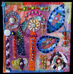 "Matisse Minutes #17 | painted fabric collage -5 1 1/4"" x 5 7… 