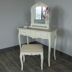 Belfort Range - Cream 2 Drawer Dressing Table, stool and swing mirror from www.melodymaison.co.uk