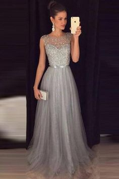 A-line Beaded Long Prom Dress Custom Made Formal Dress Fashion Winter Dance Dres. - A-line Beaded Long Prom Dress Custom Made Formal Dress Fashion Winter Dance Dress Source by - Grey Evening Dresses, Grey Prom Dress, Winter Formal Dresses, Dress Winter, Silver Prom Dresses, Long Dress Formal, Formal Dresses For Weddings, Silver Gown, Dress Lace