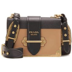 Prada Cahier Embellished Leather Shoulder Bag ($2,890) ❤ liked on Polyvore featuring bags, handbags, shoulder bags, bolsas, prada, beige, real leather purses, beige shoulder bag, beige handbags and prada purses