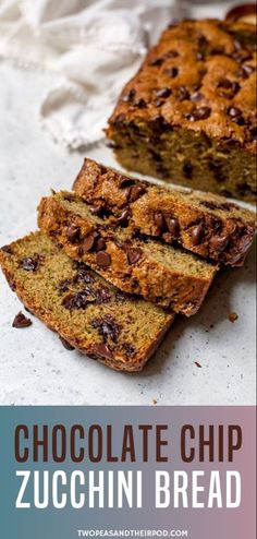 Chocolate Chip Zucchini Bread-This ultra-moist zucchini bread is dotted with chocolate chips, making it the perfect loaf of zucchini bread! You will love the chocolate addition! Moist Zucchini Bread, Zuchinni Bread, Chocolate Chip Zucchini Bread, Zucchini Bread Recipes, Chocolate Chips, Chocolate Desserts, Great Recipes, Favorite Recipes, Family Recipes