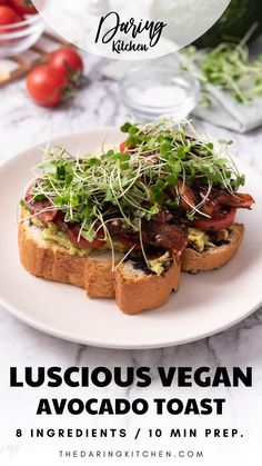 Who doesn't love avocado toast? To me, it's one of the best ways to start the day. The greatest part is that avocado toast is ridiculously easy to make at home. It's even better with my vegan carrot bacon, making this one of the best vegan avocado toast recipes yet! New Recipes, Healthy Recipes, Snack Recipes, Best Vegan Recipes, Vegan Dinner Recipes, Vegan Breakfast Recipes, Vegan Dinners, Raw Food Recipes, Healthy Meals
