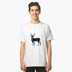 """Whitetail Deer Side View Woodcut"" T-shirt by patrimonio Buck Deer, North And South America, White Tail, Tee Shirts, Tees, Side View, Chiffon Tops, V Neck T Shirt, Virginia"