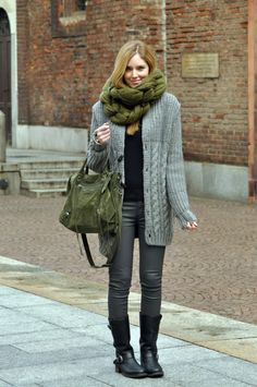 Chunky scarf, long sweater, boots, large purse