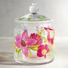 Pier 1 Imports Blooms Painted Glass Canister ($24) ❤ liked on Polyvore featuring home, kitchen & dining, food storage containers, glass food storage containers, glass cannisters, glass canisters and pier 1 imports