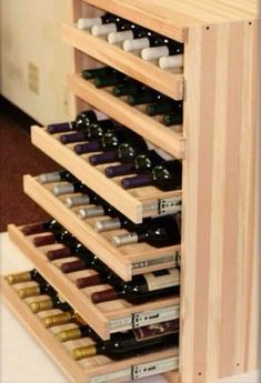 We Make It Happen With Vintner Wine Cradles - We pretty much know popular the Vintner Series is thanks to its flexible configurations and the variety of bottle storage options it offers. But who says (Liquor Bottle Storage) Wine Rack Design, Cellar Design, Wine Bottle Design, Wine Storage, Kitchen Storage, Wine Shelves, Wine Bottle Storage Ideas, Storage Drawers, Crate Shelves