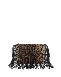 Calf Hair Fringe Clutch Bag, Leopard by Valentino at Neiman Marcus.