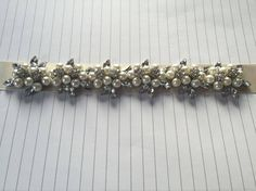 Vintage Ivory Pearl and Crystal Flowers Jewel Bridal / Occasion Belt / Sash