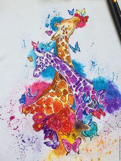 """Купить """"Жирафы"""" - белый, жирафы, рисунок на ткани, рисунок на заказ, рисунок на футболке, роспись одежды"""