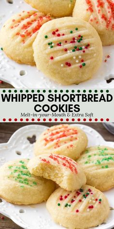 Whipped shortbread cookies are light as air with a delicious buttery flavor. - Whipped shortbread cookies are light as air with a delicious buttery flavor. They melt in your mout - Xmas Cookies, Yummy Cookies, Cake Cookies, Easy Holiday Cookies, Christmas Baking Ideas Cookies, Christmas Shortbread Cookies, Cookies Light, Vegan Christmas Cookies, Holiday Treats