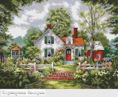 Cross stitch cottage home Cross Stitch Family, Cross Stitch House, Cross Stitch Kits, Counted Cross Stitch Patterns, Cross Stitch Charts, Cross Stitch Designs, Cross Stitch Embroidery, Cross Stitch Landscape, Stitch Book