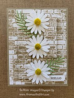 Eclipse Technique Brick Wall & Daisies - Aromas and Art - Geprägte karten Fall Cards, Christmas Cards, Thanksgiving Cards, Christmas Greetings, Karten Diy, Stamping Up Cards, Rubber Stamping, Embossed Cards, Flower Cards