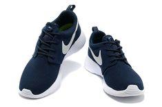 half off ebd54 1ad9c chaussures nike roshe run id homme bleu marine blanc blanc logo