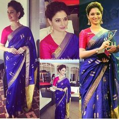 Tamanna Bhatia in royal blue raw mango silk saree for the recently held malayalam version of Bahubali audio launch