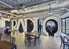 Internet radio company Pandora, located just across the East Bay from San Francisco. Studios Architecture worked on the expansion, the break area includes custom booths forming the word radio, and recording-studio-inspired meeting rooms. Studio Interior, Interior Design Magazine, Office Interior Design, Office Designs, Apartment Interior, Architecture Design, Studios Architecture, Corporate Interiors, Office Interiors