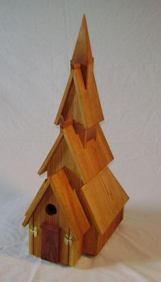 Norwegian Stave Church birdhouse  reclaimed pine, planed, linseed oiled @ reinbarnation.com