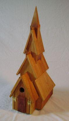 Norwegian Stave Church birdhouse  reclaimed pine, planed, linseed oiled @ reinbarnation.com