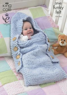 Sleeping Bags in King Cole Funky Felt (3765) | Baby Knitting Patterns | Knitting Patterns | Deramores