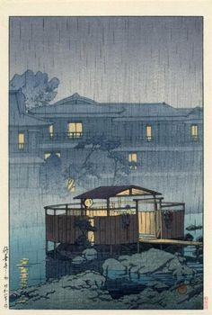 """Rain at Shuzenji Hot Spring"" 1933 Hasui Kawase (1883 - 1957).  She isn't alone in there... See the robe on each side of the door?  That is too obvious to be a lover, so it must be her girlfriend."