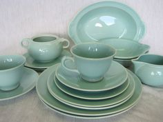 14 Piece Green LuRay Pastel Dishes