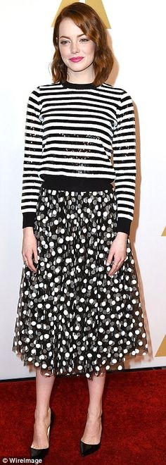Hit and miss: Emma Stone looked stylish in her signature cool style, while Marion Cotillar...