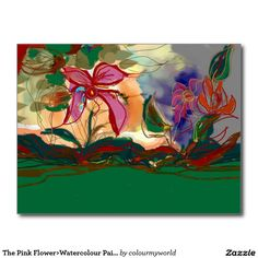 The Pink Flower>Watercolour Painting Postcard