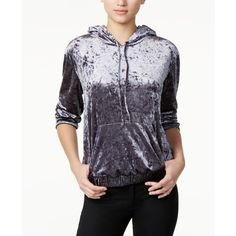 Guess Amy Crushed Velvet Hoodie ($69) ❤ liked on Polyvore featuring tops, hoodies, blue, blue hooded sweatshirt, guess hoodie, hooded pullover, blue hoodies and guess hoodies