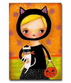 ORIGINAL Halloween CAT girl with white kitty trick or treating FOLK art painting on canvas by tascha