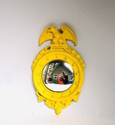 Upcycled Retro YELLOW CONVEX Eagle MIRROR by orangedoorcottage on Etsy Upcycled Vintage, Vintage Decor, Orange Company, Orange Door, Convex Mirror, Wood Watch, Industrial Style, My Etsy Shop, Eagle
