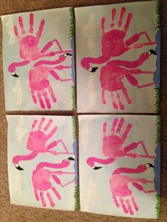 More The post Handprint flamingos! appeared first on Knutselen ideeën. Pink Flamingo Party, Flamingo Birthday, Pink Flamingos, Baby Crafts, Toddler Crafts, Crafts For Kids, Arts And Crafts, Toddler Art, Footprint Art
