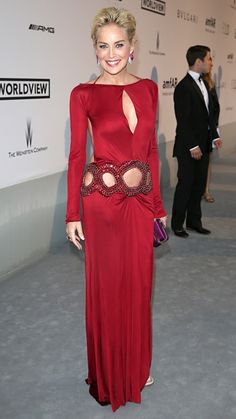 Sharon Stone opted for a bold red look in this figure-hugging Roberto Cavalli creation that sizzled on the star.