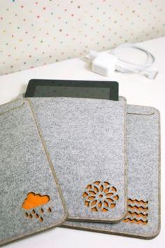 thick felt iPad case in light grey