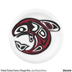 Shop Tribal Totem Tattoo Tlingit Northwest Coast Orca Paper Plate created by ClassicFotos. Native American Astrology, Native American Symbols, Native American Design, Native Symbols, Ancient Symbols, Arte Haida, Haida Art, Doodles Zentangles, Native American Animals