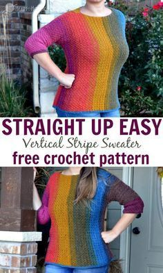 Straight Up EASY Vertical Stripes Sweater Free Crochet Pattern