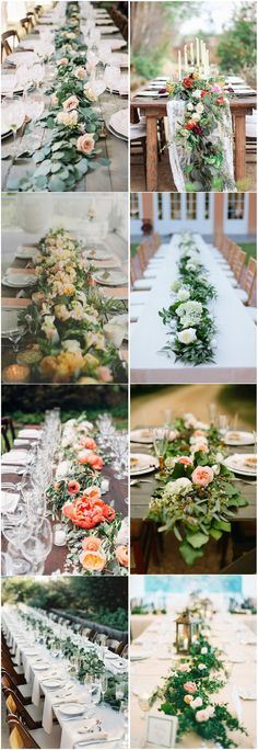 Diy Wedding Garland Flowers Table Runners 32 Trendy Ideas - Flowers For Wedding - Diy Wedding Garland, Barn Wedding Centerpieces, Wedding Table, Wedding Decorations, Beach Decorations, Reception Table, Wedding Reception, Wedding Cakes, Floral Wedding
