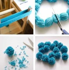 """Noticias """"the easiest way to make multiple pompoms."""", """"Ponpon Yarn pom-poms the easiest way ever diy tutorial."""", """"The Easiest Ever Yarn Pom-poms DIY Kids Crafts, Crafts For Teens, Diy And Crafts, Craft Projects, Arts And Crafts, Crafts With Yarn, Bone Crafts, Party Crafts, Kids Diy"""
