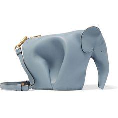Loewe Elephant leather shoulder bag ($1,175) ❤ liked on Polyvore featuring bags, handbags, shoulder bags, blue, leather shoulder bag, genuine leather shoulder bag, blue handbags, blue purse and cell phone purse