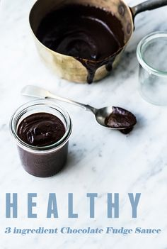 Healthy 3-ingredient Chocolate Fudge Sauce | no added sugar, grain free, vegan, gluten free | #gf #vegan #rsf #dairyfree