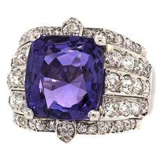Art Deco Purple Sapphire  Diamond Ring    Circa 1920-30s