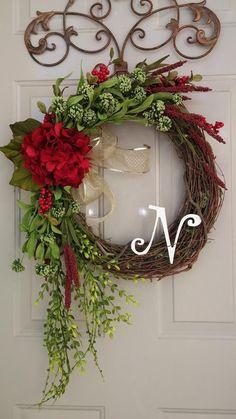 Monogrammed Wreath, Large Wreath, Winter Wreath, Spring Wreath, Summer Wreath, Year round wreath, Hydrangea Wreath, Door Wreath