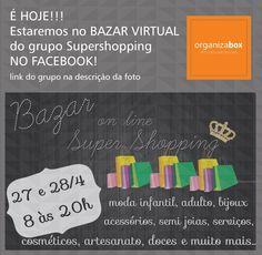 É HOJE!!! - Bazar online! http://bit.ly/1Uf3VX5    Muitas ofertas de várias expositoras com diversos produtos: moda, beleza, utilidades, presentes. Confira!    Se você não faz parte do grupo Super Shopping no Facebook, me peça para adicionar.         #bazar #bazaronline #supershopping #diadamães #presentes #maquiagem #moda #acessórios #utilidades #produtosorganizadores #organizabox